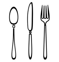 spoon knife and fork outline set vector image