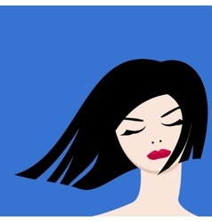 The image of a beautiful girl on a blue background vector image vector image