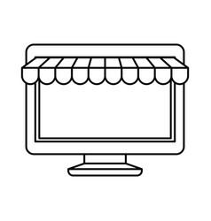 black silhouette of desktop computer online store vector image vector image