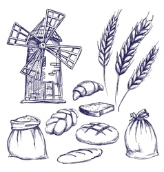 bread bakery set hand drawn llustration vector image