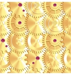 Golden clock gears arranged as fish scales vector