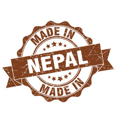 made in nepal round seal vector image