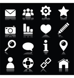Website menu navigation white icons on black vector