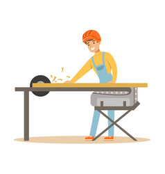 carpenter man cutting a wooden plank by circular vector image