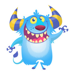 cute fluffy blue monster yeti vector image vector image