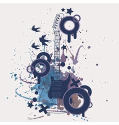 electric guitar with watercolor splash b vector image