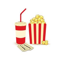 movie poster template popcorn soda takeaway vector image