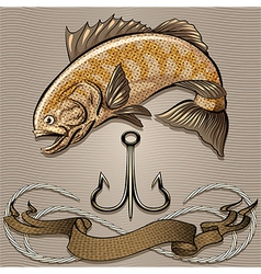 The fish and treble hook vector image vector image