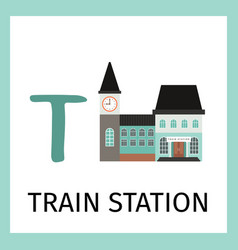 alphabet card with train station building vector image vector image