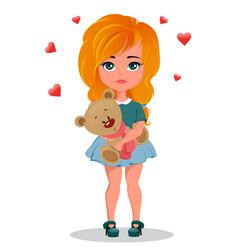 cute redhead cartoon girl holding toy teddy bear vector image