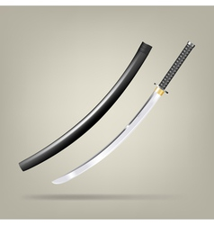 Japanese sword vector image
