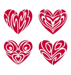 tribal hearts tattoo set vector image vector image