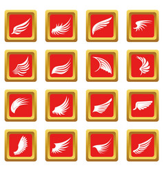 wing icons set red vector image