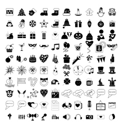 100 holidays and party icons vector image