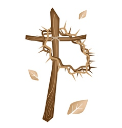 A Wooden Cross and A Crown of Thorns vector