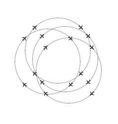 aircraft circling on a circular trajectory vector image