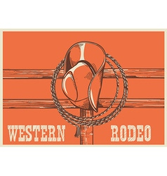 American West cowboy hat and lasso on wood fence vector image