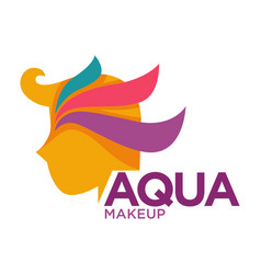 aqua makeup logo with head profile and color vector image