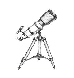 Astronomer equipment telescope monochrome vector