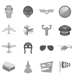Aviation icons set monochrome style vector image