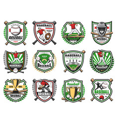 baseball tournament emblem sport club team badges vector image