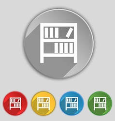 Bookshelf icon sign Symbol on five flat buttons vector