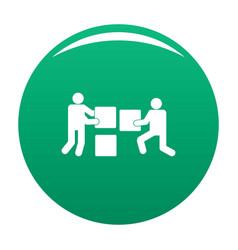 Building teamwork icon green vector