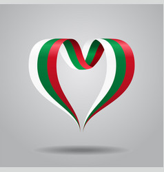 Bulgarian flag heart-shaped ribbon vector