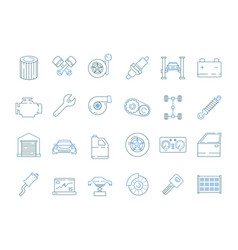 car service symbols automotive tools parts car vector image