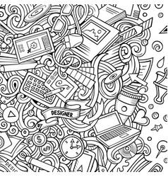 cartoon doodles design card artistic funny border vector image