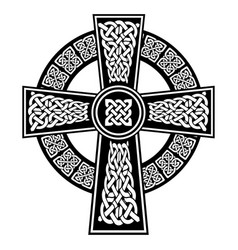 Celtic knot in the cross with surrounding ring vector
