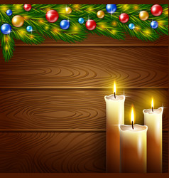 Christmas candles and wooden background vector image