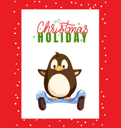 Christmas holiday greeting card frame and penguin vector