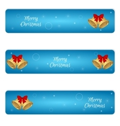 Christmas set of three horizontal blue banner with vector image