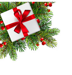 christmas with realistic fir branches vector image