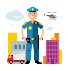 City police law enforcement flat style vector