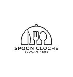 Cloche logo icon design template line art vector