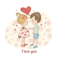 Couple in love in hearts Boy and girl holding vector image