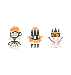 craft premium beer logo design set brewing vector image