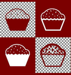 Cupcake sign bordo and white icons and vector