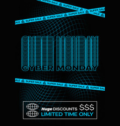 cyber monday blue typography banner poster or vector image