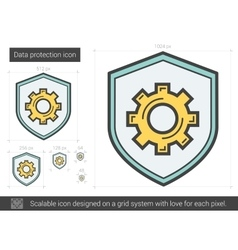 Data protection line icon vector