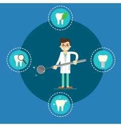 Dental health banner with male dentist vector image