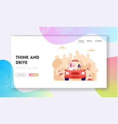 driving school website landing page learner vector image