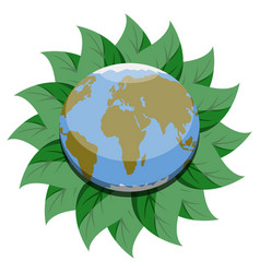 earth planet on a leaves vector image