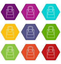 eco bag icons set 9 vector image