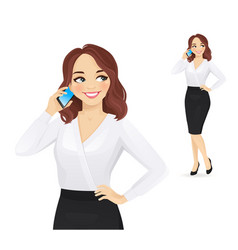 Elegant business woman talking on mobile phone vector