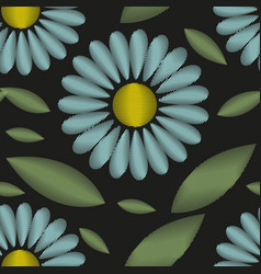 Embroidery trendy floral seamless pattern flowers vector