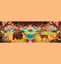 family cartoon animals in wood vector image