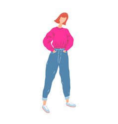 Fashion student girl in everyday trendy outfit vector